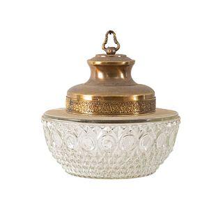 Lámpara de techo. SXX. Elaborada en metal dorado. Para una luz. Con pantalla de vidrio. 20 cm altura