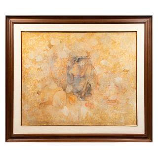 JORGE MANUEL. Sin título. Sin firma. Mixta sobre tela.  70 x 90 cm. Detalles de conservación. Enmarcada.