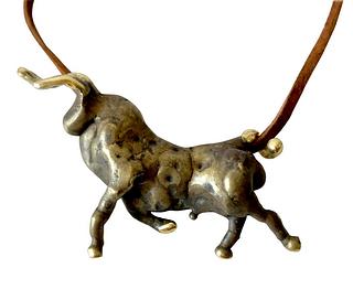 Michael Schwade Torch Welded Sculptural Bronze Bull Pendant Necklace
