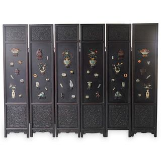 (6 Pc) Antique Chinese Hardstone and Lacquered Wood Screen