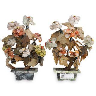 (2 Pc) Chinese Flower Jade Trees