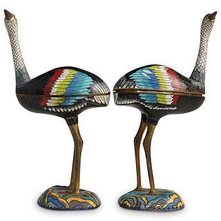 (2 Pc) Chinese Cloisonne & Gilt Bronze Birds Boxes