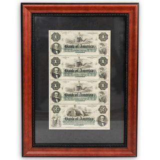 Bank of America 1860s Rhode Island Remainder Note Sheet