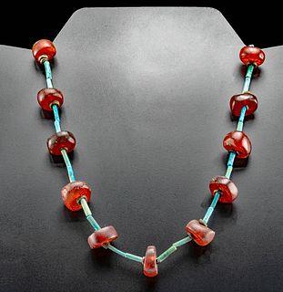 Egyptian Faience and Carnelian Bead Necklace
