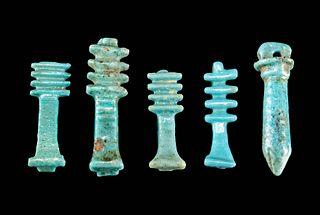 Egyptian Faience Djed Pillar and Wadj Papyrus Amulets