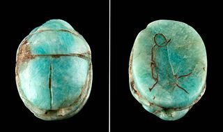 Egyptian Amazonite Scarab Pendant w/ Apis Bull