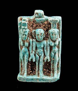 Egyptian Glazed Faience Amulet - Triad of Alexandria