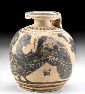 Ancient Greek Corinthian Pottery Aryballos w/ Harpy