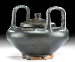 Large Ancient Greek Attic Blackware Lebes Gamikos