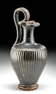 Greek Apulian Glazed Pottery Trefoil Oinochoe w/ Ribs