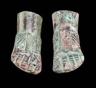 Pair of Roman Leaded Bronze Feet w/ Sandals
