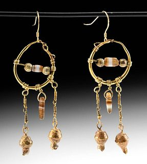 Roman Gold & Agate Earrings w/ Gold Pomegranate Beads