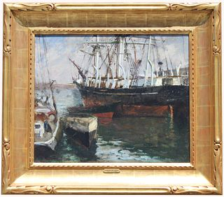"""Irving Wiles (1861-1948) """"Whaleship, New Bedford"""""""