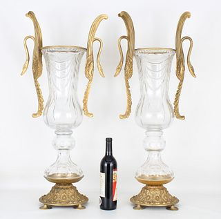 Monumental Pair of Baccarat Style Urns/Vases