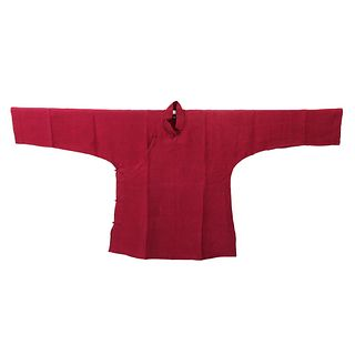 A RED-GROUND EMBROIDERED LADY'S ROBE