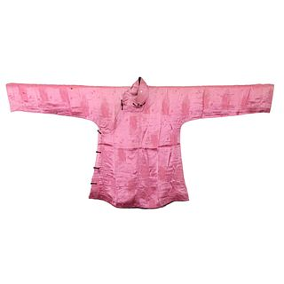 A PINK-GROUND EMBROIDERED LADY'S ROBE