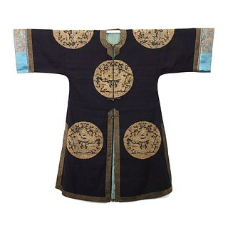 A DARK BLUE-GROUND GOLD-COUCHED EMBROIDERED 'DRAGONS' LADY'S ROBE