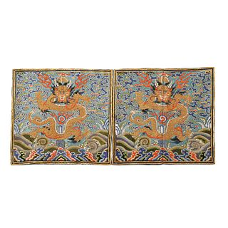 A PAIR OF BLUE-GROUND GOLD-COUCHED EMBROIDERED 'DRAGONS' BADGES
