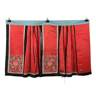 A RED-GROUND EMBROIDERED FLORAL SKIRT