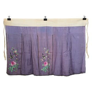 A PURPLE-GROUND EMBROIDERED FLORAL SKIRT