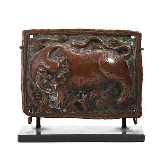 A BRONZE CARVED 'MYTHICAL BEAST' PLAQUE