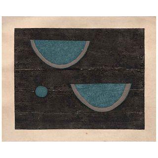 RUFINO TAMAYO, Sandías con manzana, Firmada,Mixografía P de A V/XV, 87 x 108 cm medidas totales del papel