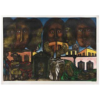 RODOLFO MORALES, Sin título, Firmado,Grabado al aguafuerte 47 / 70, 108 x 158.5 cm