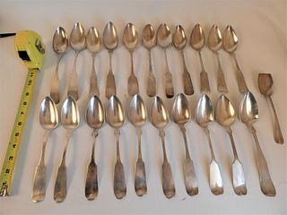 22 COIN SILVER TABLE SPOONS
