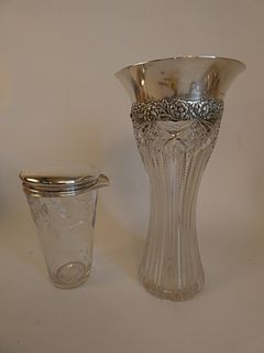 TIFFANY STERLING & CUT GLASS VASE & COCKTAIL MIXER