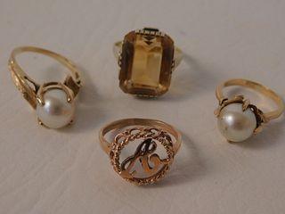 LOT 4 GOLD GEMSTONE RINGS