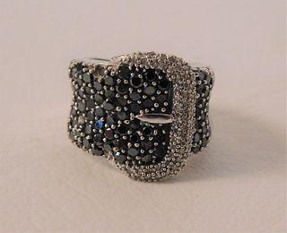 BLACK DIAMONDS GOLD BUCKLE RING