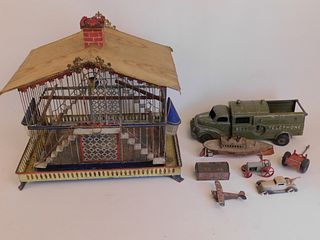 LOT OLD TOYS & BIRD CAGE