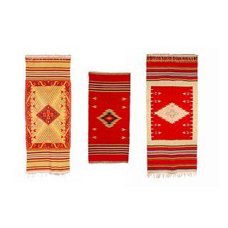 Mexico, Group of Three Saltillo Serape Textiles, 20th Century