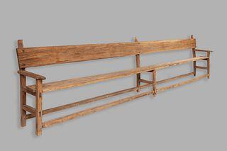 Mexico, Long Wooden Banca Bench, 19th Century