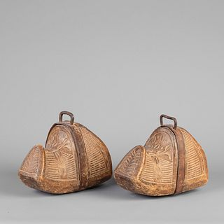 Spanish Colonial, Carved Wood Conquistador Stirrups, Late 19th Century