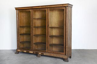 Veneered Oak Bookcase with Glass Front
