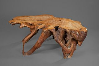 New Mexico, Burled Natural Wood Table with Turquoise Inlay