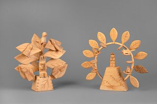 Cordova, New Mexico, Two Carved Wood Trees of Life, ca. 1980