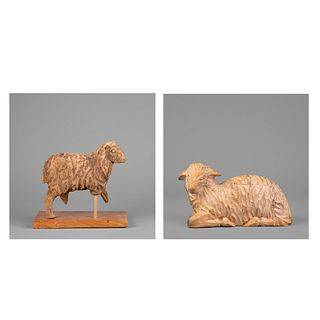 Mexico, Two Wooden Sheep Figures, ca. 19th - 20th Century