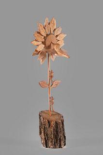 Florence Serna, Woodcarving with Hummingbird