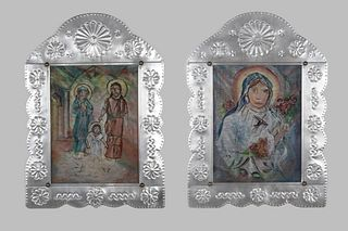Eliseo Rodriguez, Group of Two Reverse Painted Glass and Tin Retablos