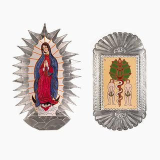 Rosina Lopez de Short and Fred R. Lopez, Group of Two Tin Retablos