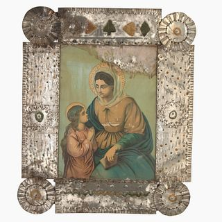 New Mexico, Tin Frame with Devotional Print, ca. 1880