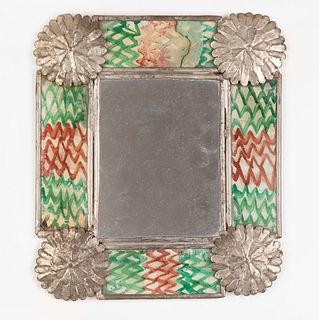 New Mexico, Tin Mirror with Reverse Painted Glass, 19th Century