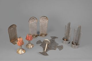 New Mexico, Group of Tin Candle Sconces, Early 20th Century
