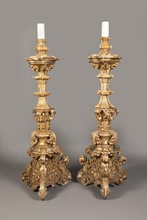 Spanish Colonial, Mexico, Pair of Large Gilt Blandones Candlesticks, 17th-18th Century