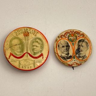 2 Antique 1912 Eugene Debs Socialist Party Buttons