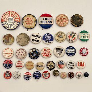 75 Miscellaneous Antique Buttons Pinbacks
