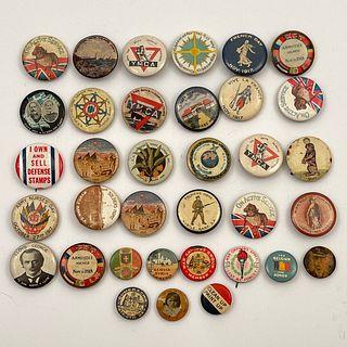 35 Antique Vintage WWI Buttons Pinbacks