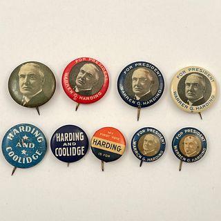 8 Antique President Warren Harding Buttons